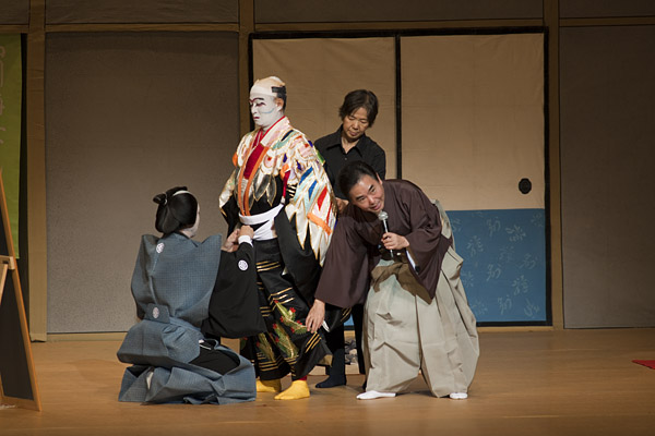 In the first act, one actor applied makeup and dressed on stage to demonstrate to an American audience the intricacies of preparation for a kabuki role.
