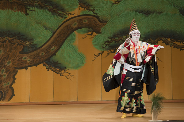 Kabuki actor, Senyoichi Nishikawa, dances the part of the puppet, Sanbasou.