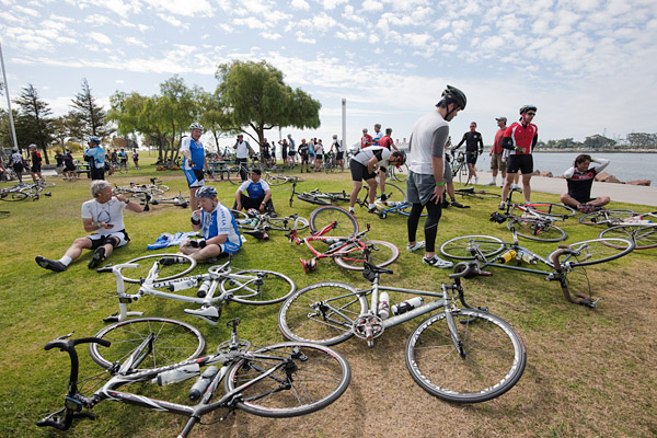 Cyclists rest and prepare for the thirty five mile trip from Long Beach back to Griffith Park as part of the LA River Ride, a fundraiser for the Los Angeles County Bicycle Coalition.
