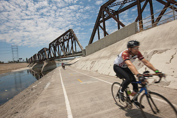 Thousands of bicyclists ride the Los Angeles River bike path on Sunday, June 5, 2011, from Griffith Park to Long Beach and back during the L.A. River Ride, a fundraiser that benefitting cycling advocacy group, the L.A. Bicycle Coalition.