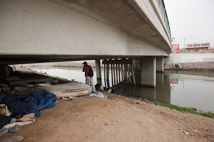 Many homeless immigrants spend the night at encampments under the 182nd Street bridge after waiting to be hired as a day laborers outside the nearby Home Depot.