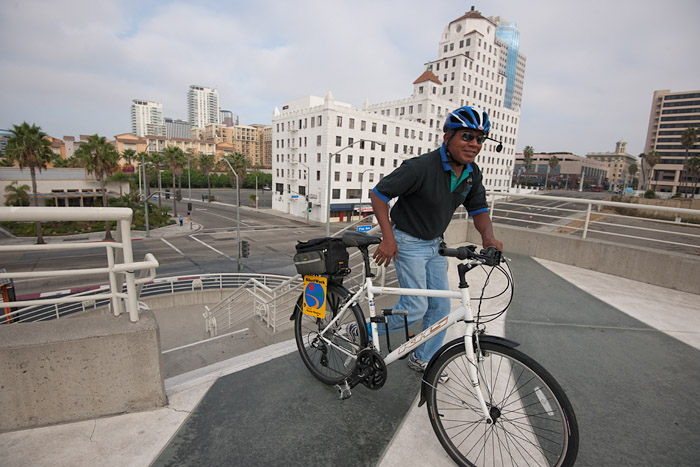 A cyclist arrives at the Long Beach Convention Center to participate in the first LA Bike Summit on Friday, September 30, 2011.