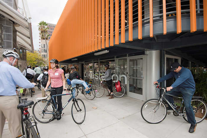 The Bike Station, a private business operating on city land, provides secure bike parking, repair facilities and other amenities for cyclists.
