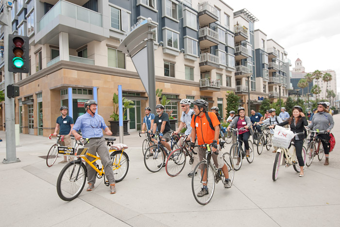 Charlie Gandy of Livable Communities, Inc., leads the bike tour.