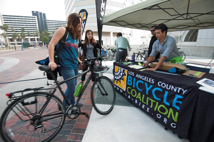 USC students use the bike valet parking provided by the Los Angeles Bicycle Coalition, the bike riding advocacy group that helped organize the conference.