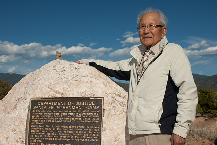Bill Nishimura enjoys the fine weather on his second visit to the historical marker.