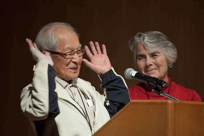 Nancy Bartlit brought Nishimura back to Santa Fe for the first time since World War II to attend the historical marker dedication in 2002.