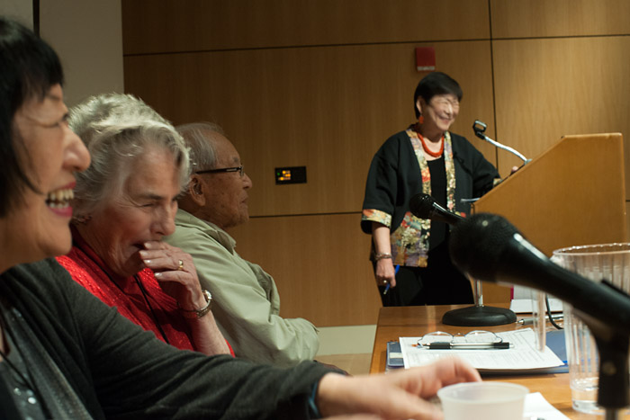 As Gail Okawa, right, closed the symposium, Nishimura remembered two final stories. Okawa granted him more time while a Santa Fean in the audience yelled,