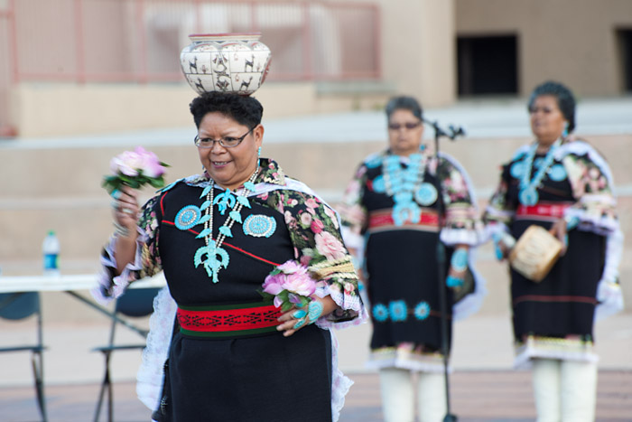 The Zuni Olla Maidens perform a pottery dance in front of the courthouse in Gallup, New Mexico.