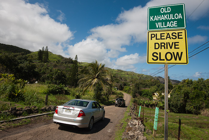 Finding Old Kahakuloa Village requires navigating a narrow one lane mountain road with scant room to pass oncoming traffic.