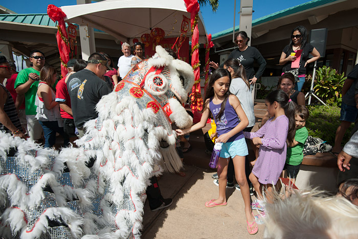 In a twist on a Chinese tradition, children feed dragons money in red envelopes as a donation to the community organizations that sponsor the event.