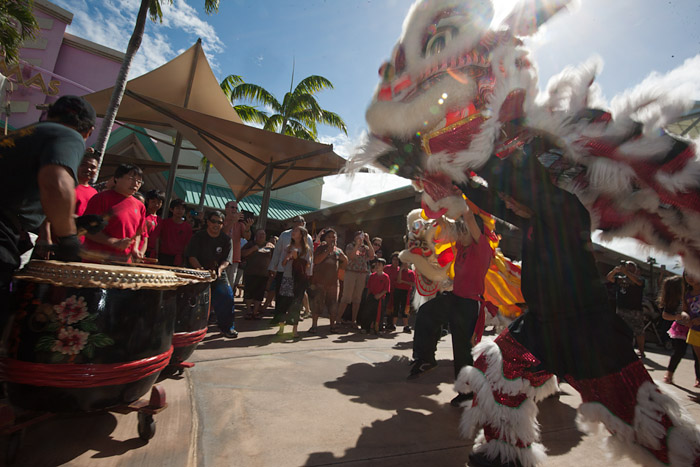 Lion dancers perform Saturday, February 9, 2013, at the Chinese New Year celebration in Kahalui, Maui.
