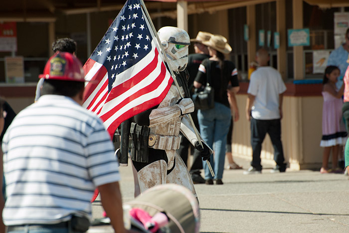 An actor wanders the grounds clad as a Star Wars stormtrooper, a character created by famed Marin County resident, George Lucas.