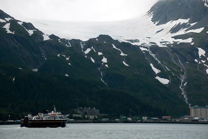 Whittier Glacier above the town of Whittier, Alaska