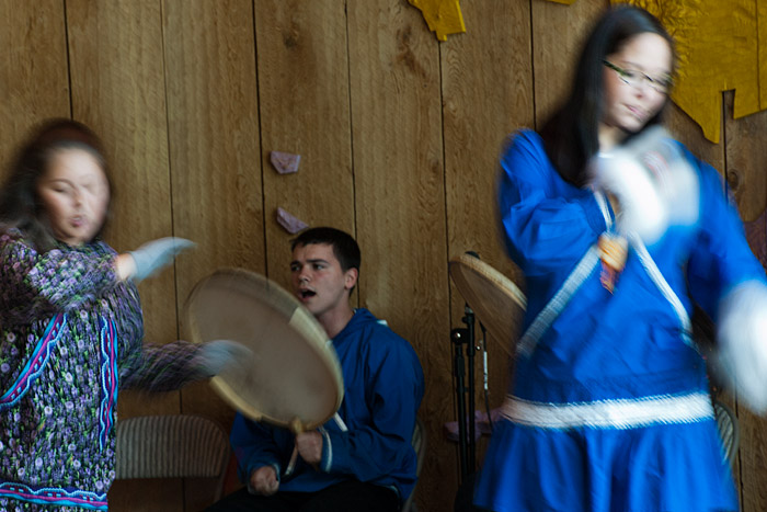 Dancers at the Alaska Native Heritage Center, though ethnically diverse, learn and perform as a group.