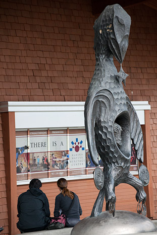 Raven sculpture at the entrance