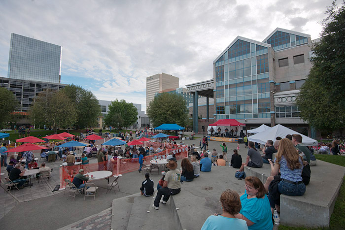 Anchorage band, H3, performs a free concert for tourists and residents at Town Square Park.