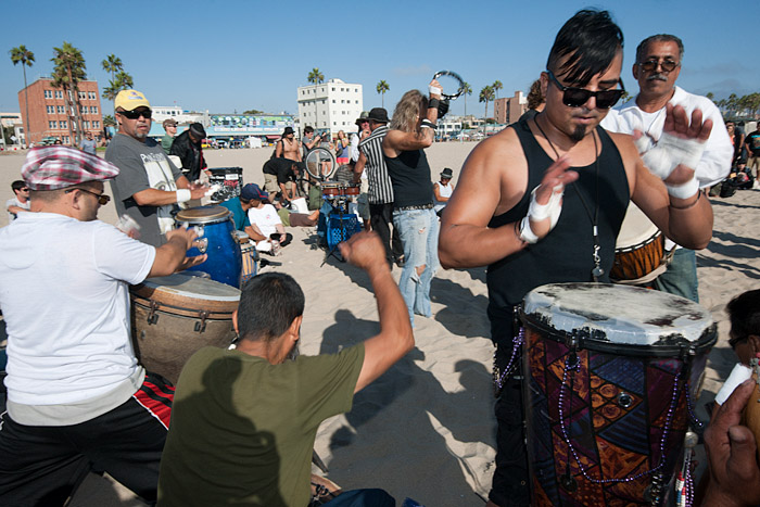 Drummers on Venice Beach near Brooks Avenue and Ocean Front Walk.