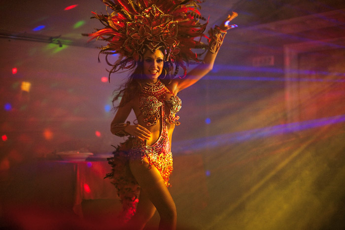 A samba dancer performs at Vilma Duran's 50th birthday party in Lawndale, California.