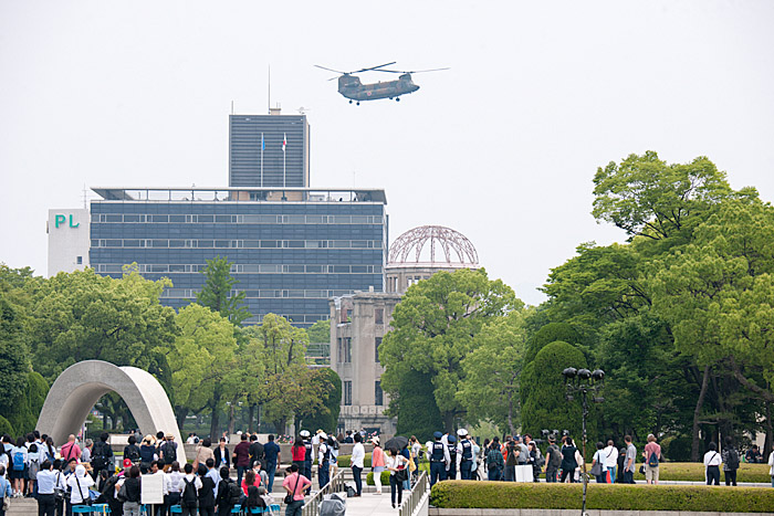 Japanese military helicopter above genbaku dome