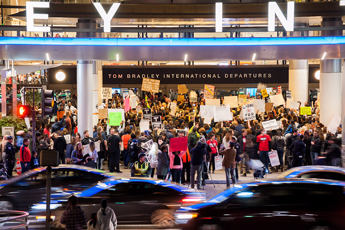 Protestors crowd the entrance to the Bradley International Terminal at LAX on Saturday, January 28, 2017, in response to newly sworn-in President Trump's executive order banning entry into the United States for Muslims from seven countries.