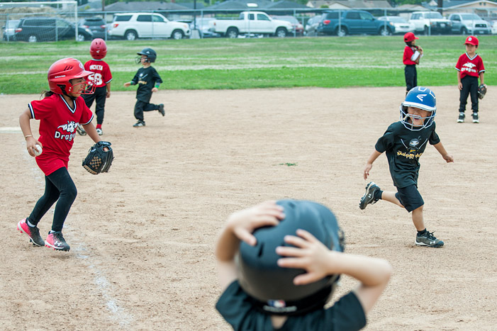 Giselle Dominguez chases an errant runner trying to avoid her tag.