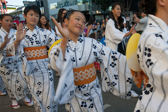 Bando Hidesomi and Bando Hiromiya perform on Sunday, August 27, 2017, at the Nisei Week Ondo in Little Tokyo.