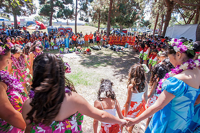 Kanani Kalama Hula dancess at Alondra Park on Saturday, July 21, 2018. Auntie Kanani leads a prayer prior to the performance.